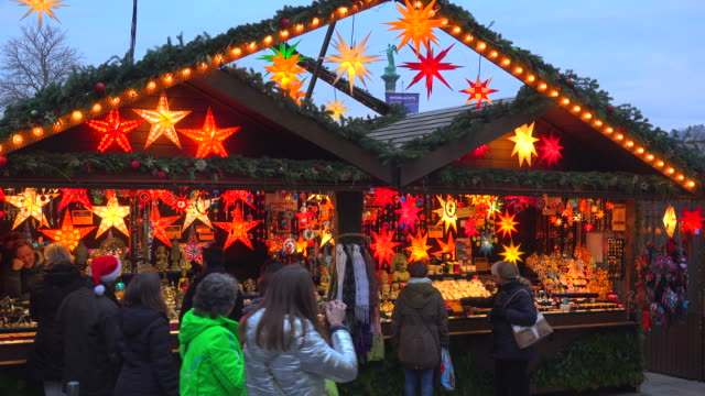 Christmas Market at Schillerplatz, Stuttgart, Baden-Wuerttemberg, Germany