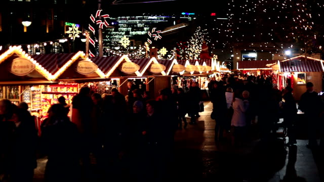 christmas market by night - christmas market stock videos & royalty-free footage