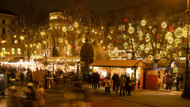 christmas market hyperlapse timelapse at night in budapest, hungary, europe. - time-lapse - budapest stock videos & royalty-free footage