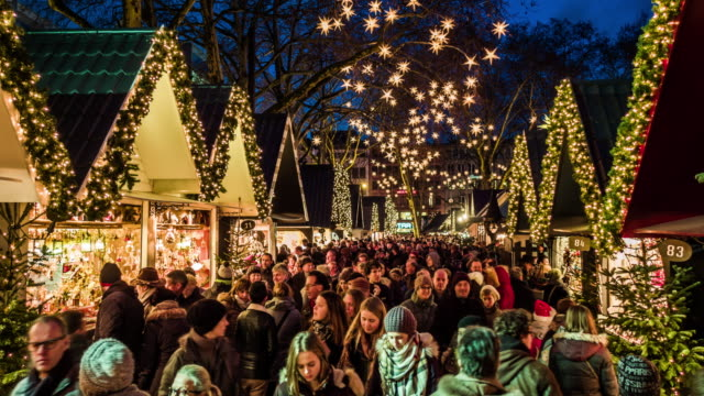 christmas market in cologne, germany - street market stock videos & royalty-free footage