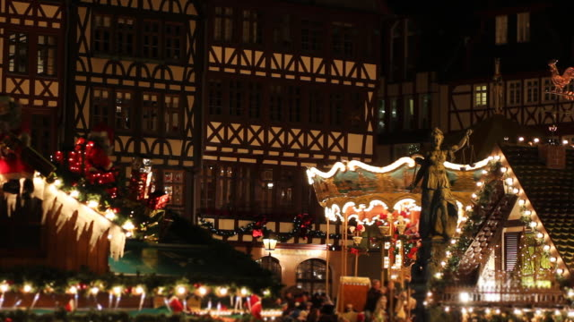 Christmas market in Frankfurt, Germany, at night