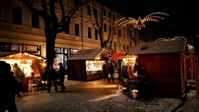 christmas market in weimar, germany - christmas market stock videos & royalty-free footage