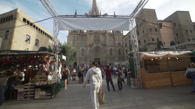 christmas market santa llucia at barcelona cathedral square - gothic quarter barcelona stock videos and b-roll footage