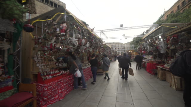 christmas market santa llucia at barcelona cathedral square - craft stock videos and b-roll footage