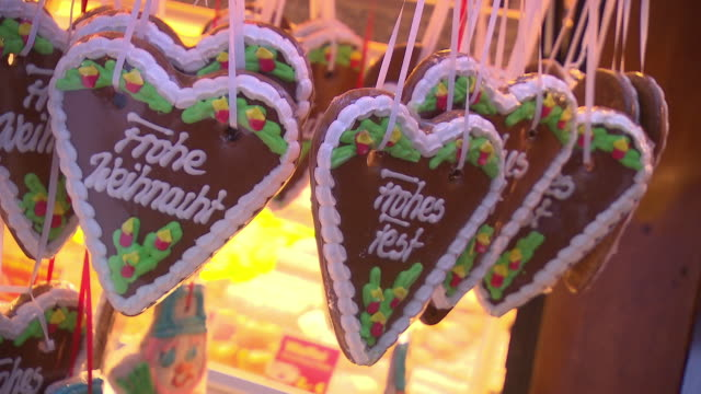 christmas market, some  gingerbread heart labeled with merry christmas