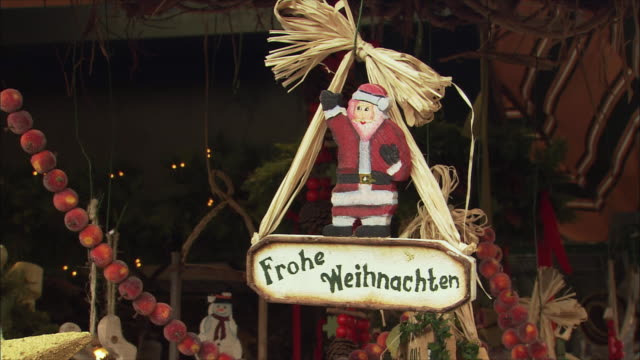 ms christmas market stall with santa claus figurine / salzburg, austria - traditionally austrian stock videos & royalty-free footage