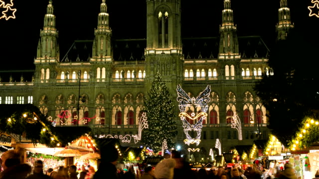 christmas market vienna - time lapse - austria stock videos & royalty-free footage
