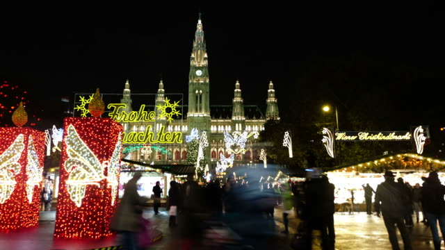christmas market vienna - time lapse - vienna stock videos and b-roll footage