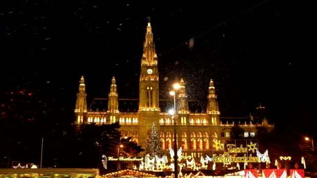 christmas market vienna town hall - vienna austria stock videos & royalty-free footage