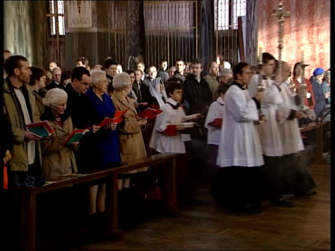 iraq; itn england: london: westminster: westminster cathedral int service underway - westminster cathedral stock videos & royalty-free footage