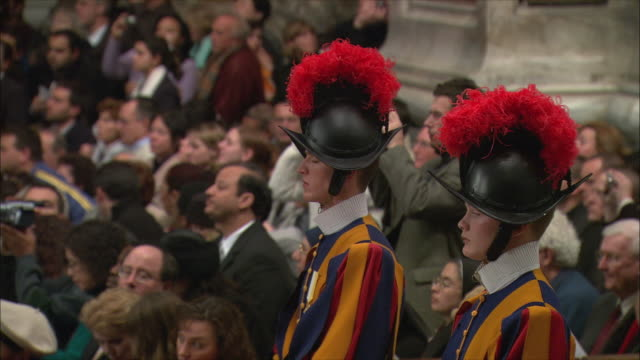 ms christmas midnight mass at st peter's basilica / vatican city, vatican - swiss guard stock videos and b-roll footage