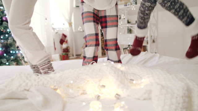 christmas morning joy 4k - pyjamas stock videos & royalty-free footage