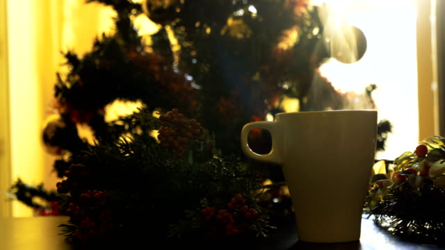 christmas morning with a hot drink - coffee drink stock videos & royalty-free footage