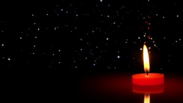 stockvideo's en b-roll-footage met christmas night candle stars - copy space, hd - medium filmcompositietype