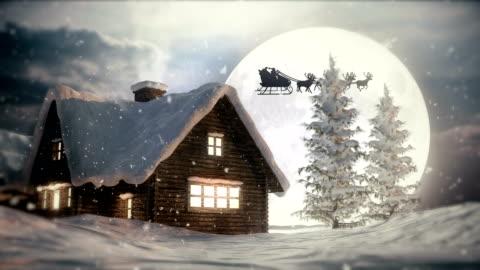 christmas night   flying santa claus - december stock videos & royalty-free footage