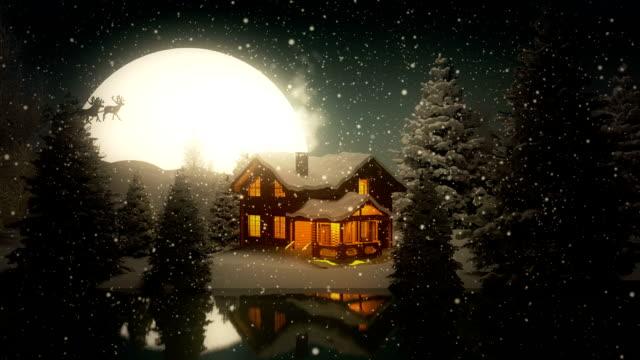christmas night | lake house - santa claus stock videos & royalty-free footage
