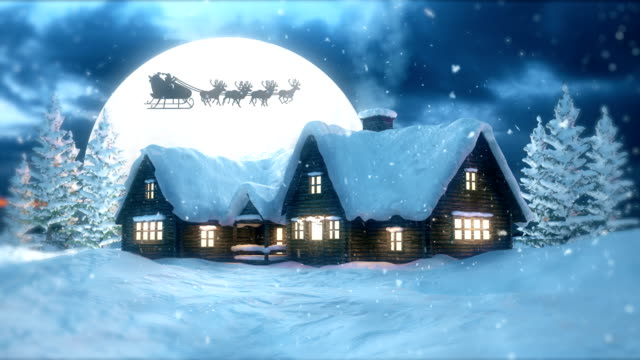 christmas night with flying santa claus - north pole stock videos & royalty-free footage