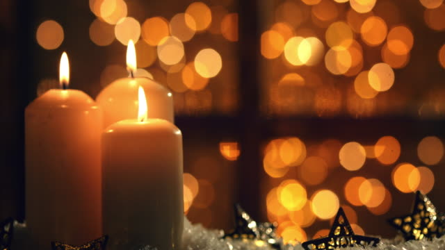 christmas night with lantern and candle - obsoleto video stock e b–roll