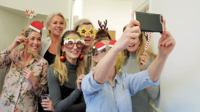 christmas office selfie - party stock videos & royalty-free footage
