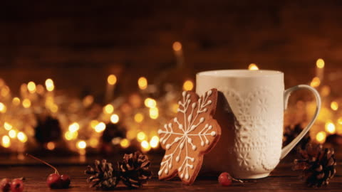 christmas or new year composition with cocoa, gingerbread cookies and christmas decorations - vacations stock videos & royalty-free footage