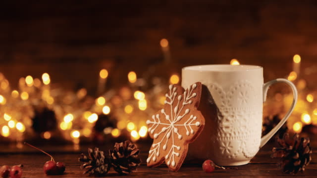 christmas or new year composition with cocoa, gingerbread cookies and christmas decorations - winter video stock e b–roll