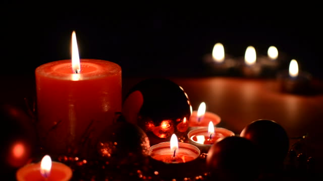 Christmas ornaments and candles