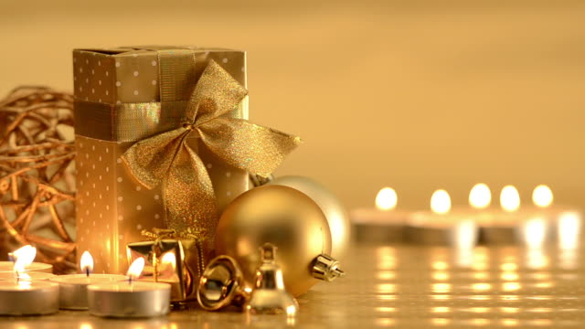 Christmas ornaments, candles and decoration