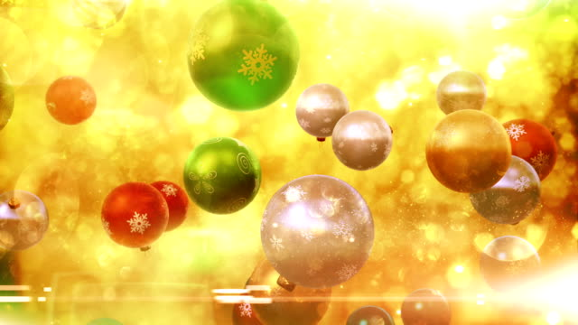 christmas ornaments falling (multi-colored) - loop - ice crystal stock videos and b-roll footage