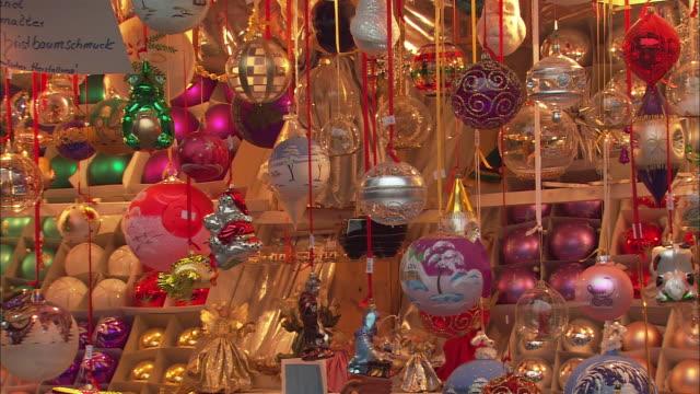 ms pan christmas ornaments for sale at christkindlesmarkt (christmas market) / nuremberg, bavaria, germany - nuremberg stock videos & royalty-free footage