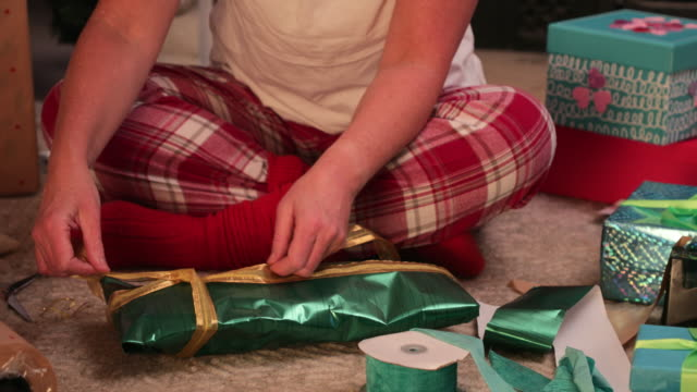 christmas present bows - tied bow stock videos & royalty-free footage