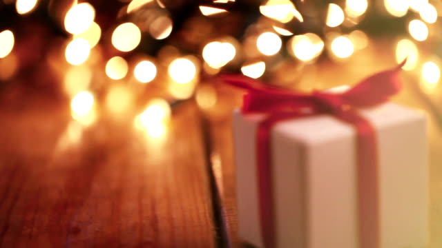christmas present - fairy lights stock videos and b-roll footage