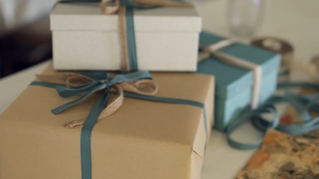 christmas presents close-up. - birthday gift stock videos & royalty-free footage