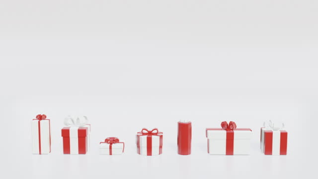 christmas presents popping on a white background - christmas gift stock videos & royalty-free footage