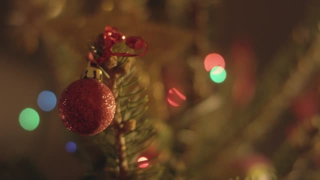 christmas red bauble - decorating the christmas tree stock videos & royalty-free footage