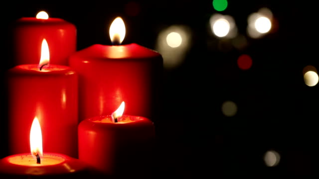 christmas red candle decoration for celebration - advent stock videos & royalty-free footage