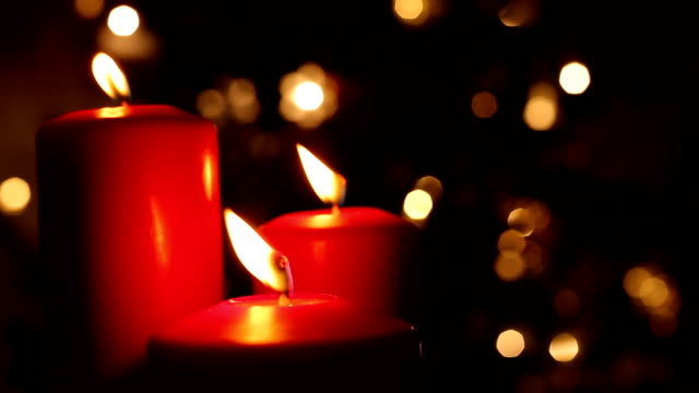 christmas red candle decoration - burning stock videos & royalty-free footage