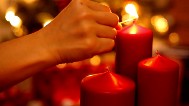 Christmas red candle decoration