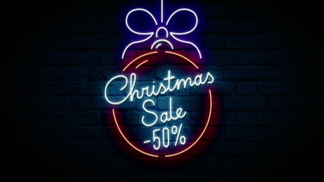 christmas sale neon sign - sale stock videos & royalty-free footage