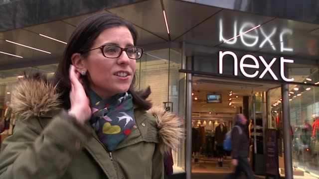 next sales increase by 1.5 per cent; england: london: oxford street: ext gvs next store/ natalie berg interview sot/ shoppers along oxford street -... - commercial activity stock videos & royalty-free footage