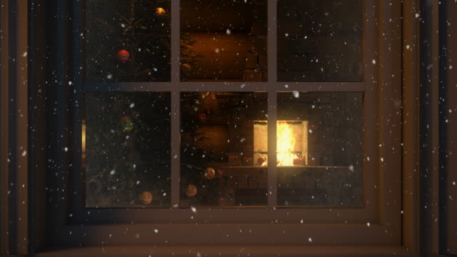 christmas scene behind the window  4k | loopable - cottage stock videos & royalty-free footage