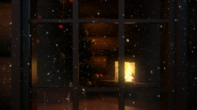 christmas scene behind the window  4k | loopable - snowing stock videos & royalty-free footage