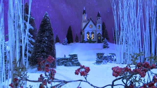 Weihnachten-Szene-Kirche im Wald