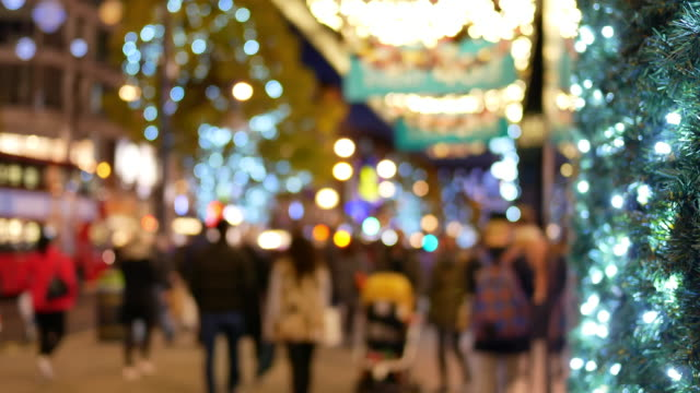 4k christmas & shopping on oxford street, london - christmas shopping stock videos and b-roll footage