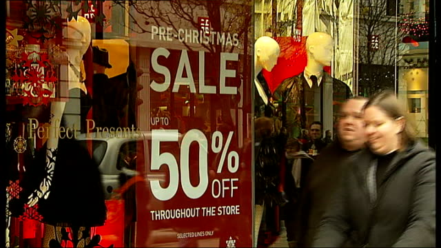 christmas shopping on oxford street various shots of crowds of shoppers along busy oxford street and shop windows showing sale and discount signs/... - discount shop stock videos & royalty-free footage