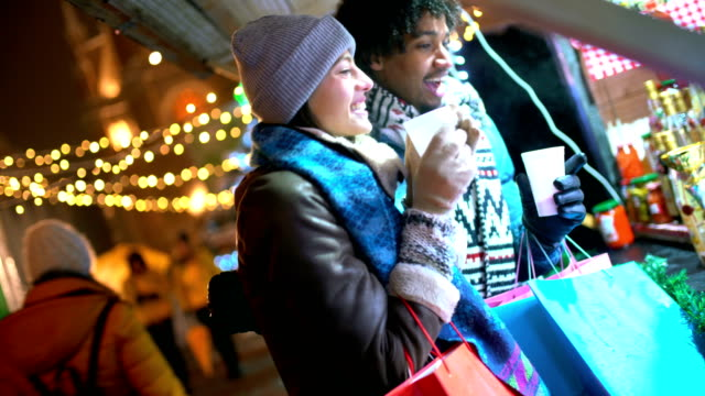 christmas shopping spree - market stall stock videos & royalty-free footage