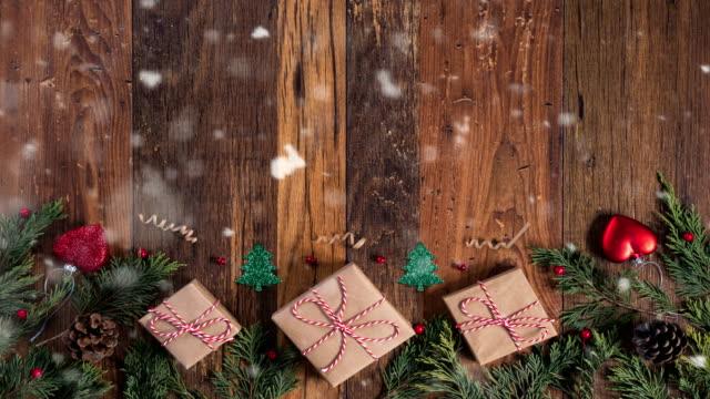 stockvideo's en b-roll-footage met 4k kerst sneeuw consept - loopbare - lus
