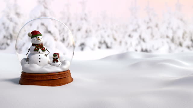 Christmas Snow Globe 4K animation with father and son snowman