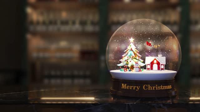 vídeos y material grabado en eventos de stock de globo de nieve de navidad loop 4k - glamour