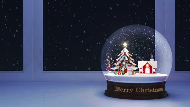 stockvideo's en b-roll-footage met kerst sneeuwbol loop 4k - cadeau