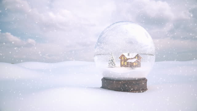 christmas snow globe with snow background - 4k | loopable - christmas bauble stock videos & royalty-free footage